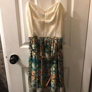 Tropical strapless dress